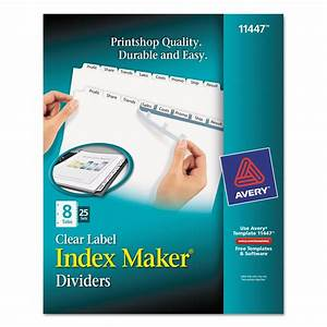 Print apply clear label dividers w white tabs by avery for Ave11447