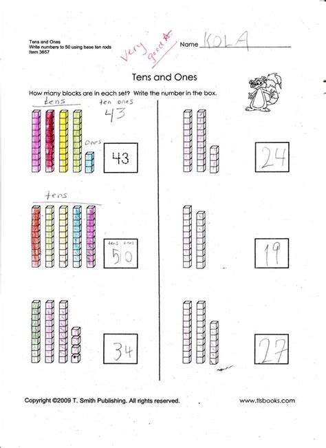 There are a range of skills for you to practice from counting to combining and writing in standard or expanded form. Tens And Ones Worksheet - Practice Place Value: Ten Thousands | Worksheet ... : Tens ones ...