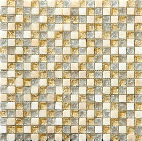 beige glass crackle backsplash tile kitchen yellow