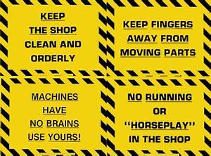 "Plastic Laminated Safety Sign - ""No Running/Horseplay In Shop"""
