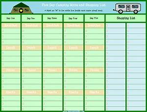five day camping menu planner with shopping list lisa With camping menu planner template