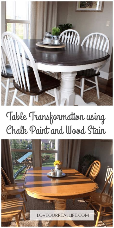 kitchen table makeover  chalk paint  wood stain