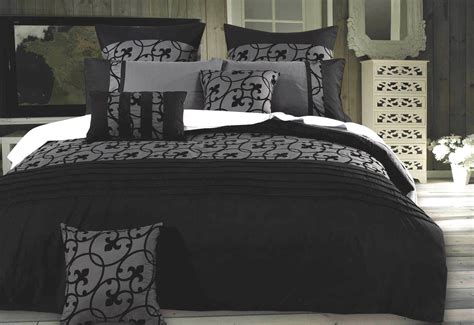 lyde charcoal black quilt cover set  luxton warehouse