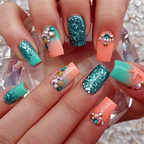 teal  coral nails pictures   images