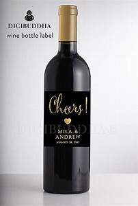 black gold glitter wedding wine label modern glam boho With custom wine labels diy
