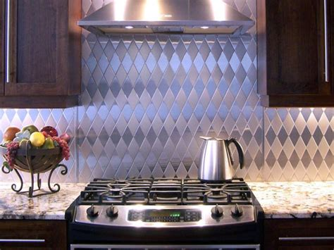 Black Tin Backsplash : Stainless Steel Backsplash
