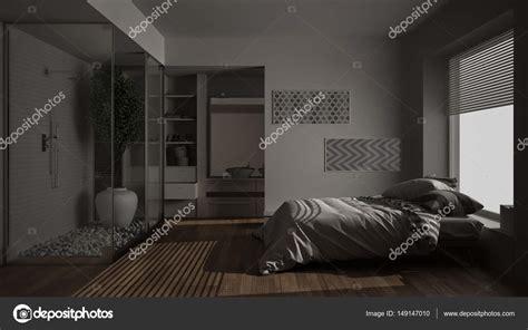 con cabina armadio e bagno da letto minimalista e bagno con doccia e cabina