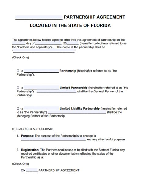 florida partnership agreement template  word