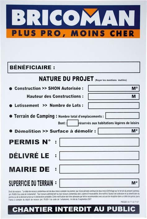 Panneau Permis De Construire Panneaux De Permis De Construire Bricoman