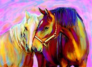 Horse Love Digital Art by Karen Derrico