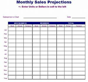 Monthly sales projections template blue layouts for Annual projection template