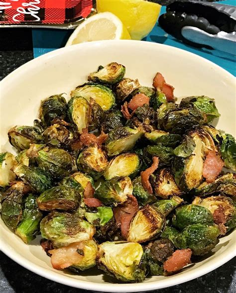 air sprouts brussels bacon sugar brown fryer addicts fried were these dinner perfect slice directions addition christmas
