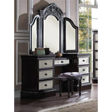 Glass Bedroom Vanity by Athena Vintage Silver Espresso Wood Glass Vanity Set My
