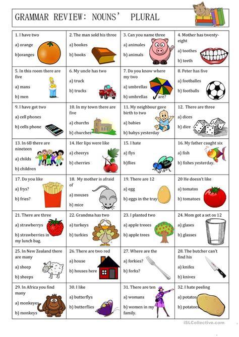 grammar review nouns plural english esl worksheets