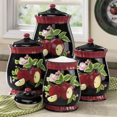 Apple Kitchen Canisters by 4 Apple Canister Set Kitchenware In 2019