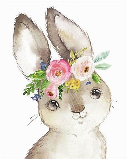 Bunny Watercolor Rabbit Boho Forest Bunnies Easter