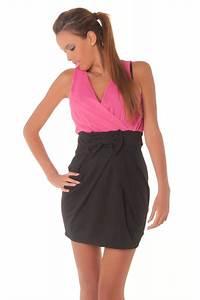 robe de soiree bicolore fushia et noire mode femme tendance With robe fushia et noir