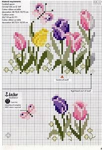 Tulips Border cross stitch chart pattern ...... Loads of ...