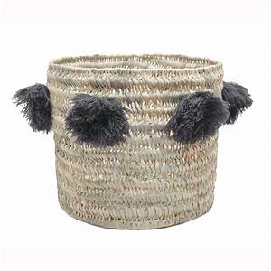 Panier A Pompon : panier louis en paille naturelle pompon gris little marmaille ~ Teatrodelosmanantiales.com Idées de Décoration