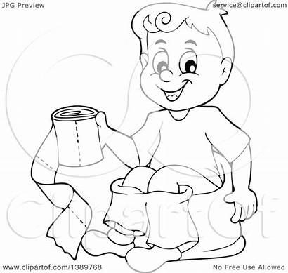 Toilet Potty Training Sitting Cartoon Clipart Boy