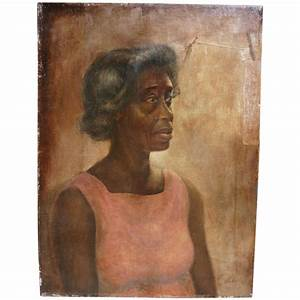 Portrait of African - American woman oil painting signed ...