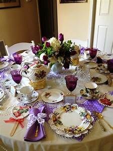 Make It Delightful   Tea Table In Purples  Polka