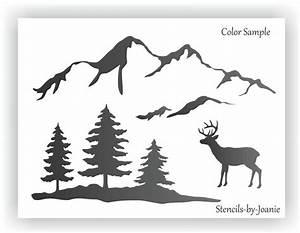 Joanie, Stencil, Snowy, Smokey, Mountain, Range, Pine, Tree, Deer, Rustic, Lodge, Cabin, Art