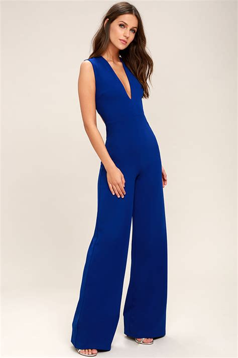 lulus jumpsuit chic royal blue jumpsuit backless jumpsuit sleeveless