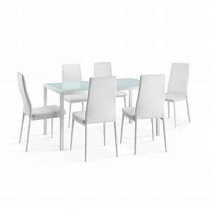 Table Et Chaise Pas Cher : delamaison ensemble table manger rectangulaire air m tal et verre 6 chaises polyu thane ~ Teatrodelosmanantiales.com Idées de Décoration