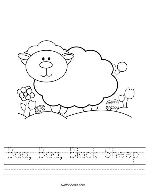 black worksheet baa baa black sheep worksheet twisty noodle nursery