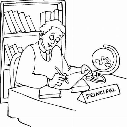 Principal Office Clipart Coloring Drawing Clip Principals