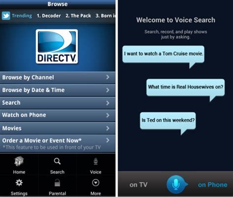 directv android app directv android app updated to version 2 5 enables voice