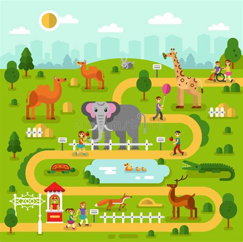 mapa del parque zoologico ilustracion del vector