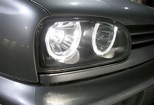 Phare Golf 3 : 2 feux phare avant noir angel eyes led blanc xenon vw golf ~ Melissatoandfro.com Idées de Décoration