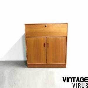 Bureau Secretaire Vintage : vintage secretaire bureau dressoirkast van teakhout ~ Teatrodelosmanantiales.com Idées de Décoration