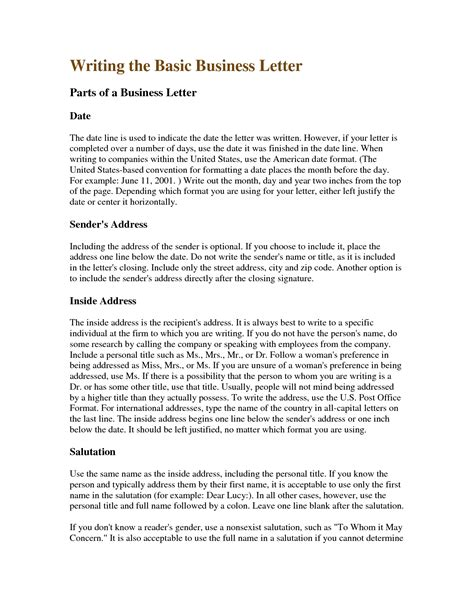 writing a business letter business writing exles letters free sle letters 11794