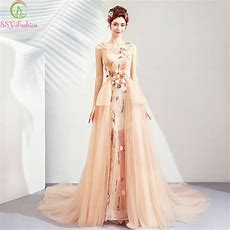 Ssyfashion New Luxury Prom Dress Champagne Sleeveless Lace