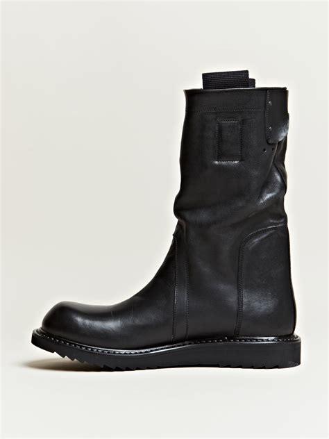 biker boots men rick owens mens pull on biker boots in black for men lyst