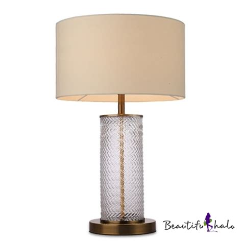 cylinder l shades for table ls ripple glass cylinder table l with drum fabric shade in