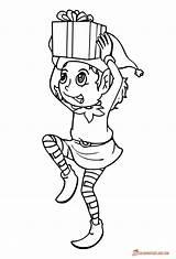 Elf Coloring Christmas Pages Printable Drawing Line Elves Sheets Gift Brings Drawings Preschoolers Sheet Xmas Printables Fantasy Tree Paintingvalley Getdrawings sketch template