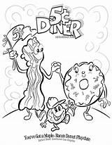 Coloring Bacon Donut Diner Nickel Printable Getcolorings English sketch template