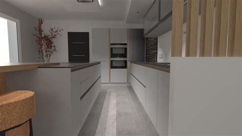 cuisiniste barentin cuisine design gris clair et bois avec grand îlot et