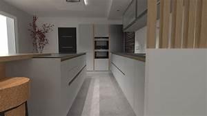 cuisine design gris clair et bois avec grand ilot et With photo cuisine grise et bois