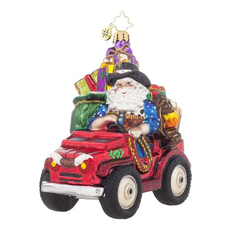 christmas tree jeep radko 1017867 prarie claus cowboy santa in jeep ornament