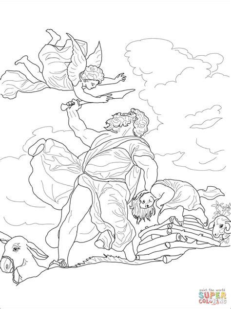 dibujo de abraham sacrifica  isaac  colorear