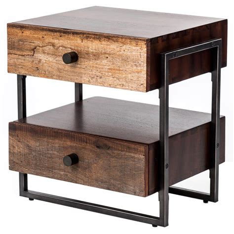 wood and metal end tables alena industrial rustic wood steel side table kathy kuo home