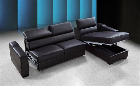 Leather Sofa Bed Sectional flip reversible espresso leather sectional sofa bed w storage