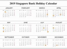Printable Yearly Free Bank Holiday 2019 Singapore
