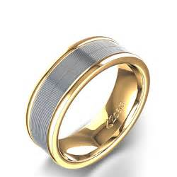 mens wedding rings white gold grooved polished 39 s wedding ring in 14k yellow white gold