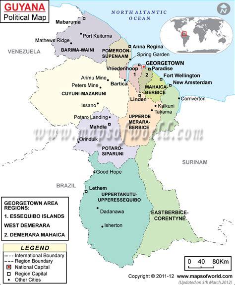 political map  guyana